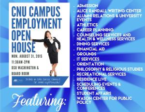 Open House Flyer with Department Names